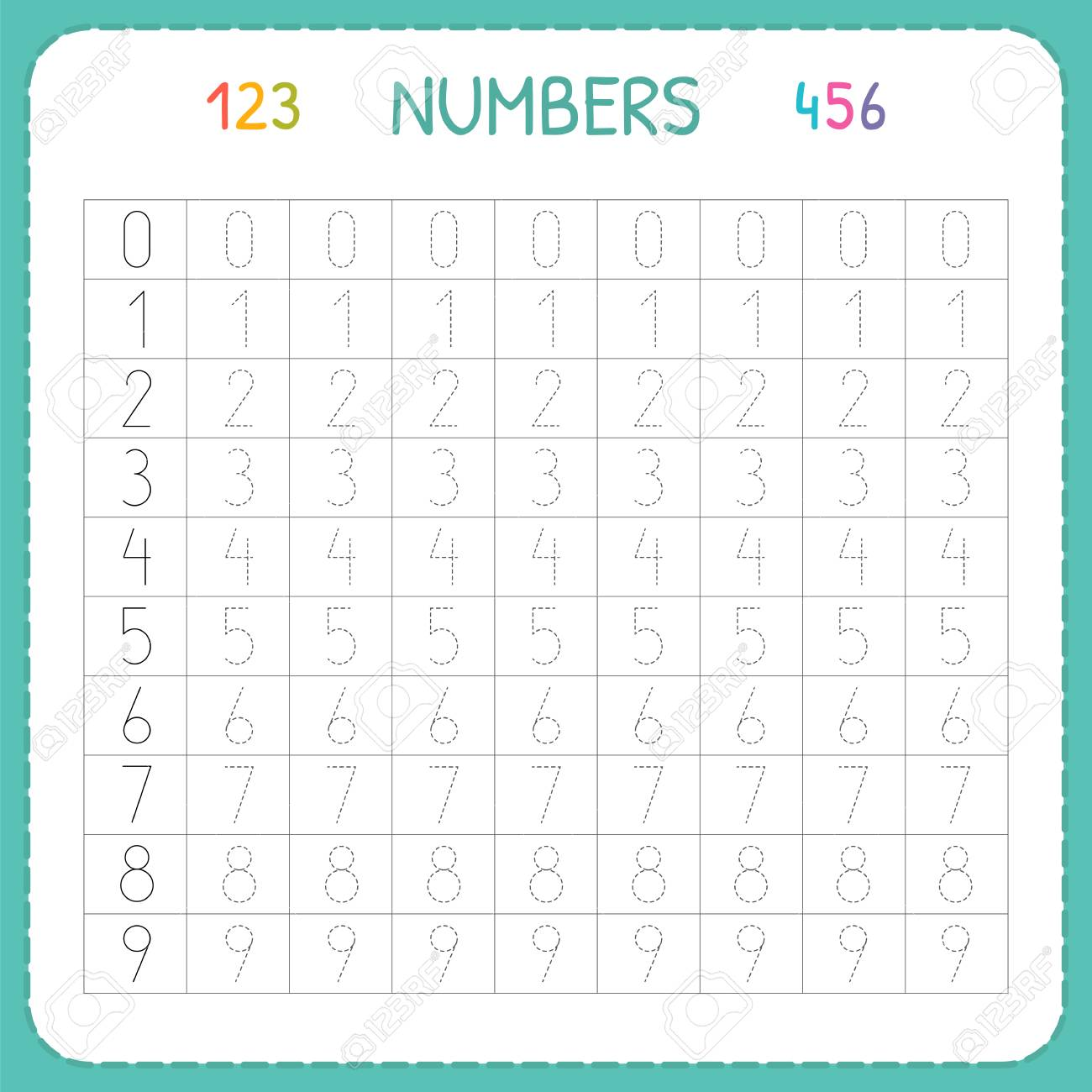 Numbers For Kids. Worksheet For Kindergarten And Preschool. Training ...