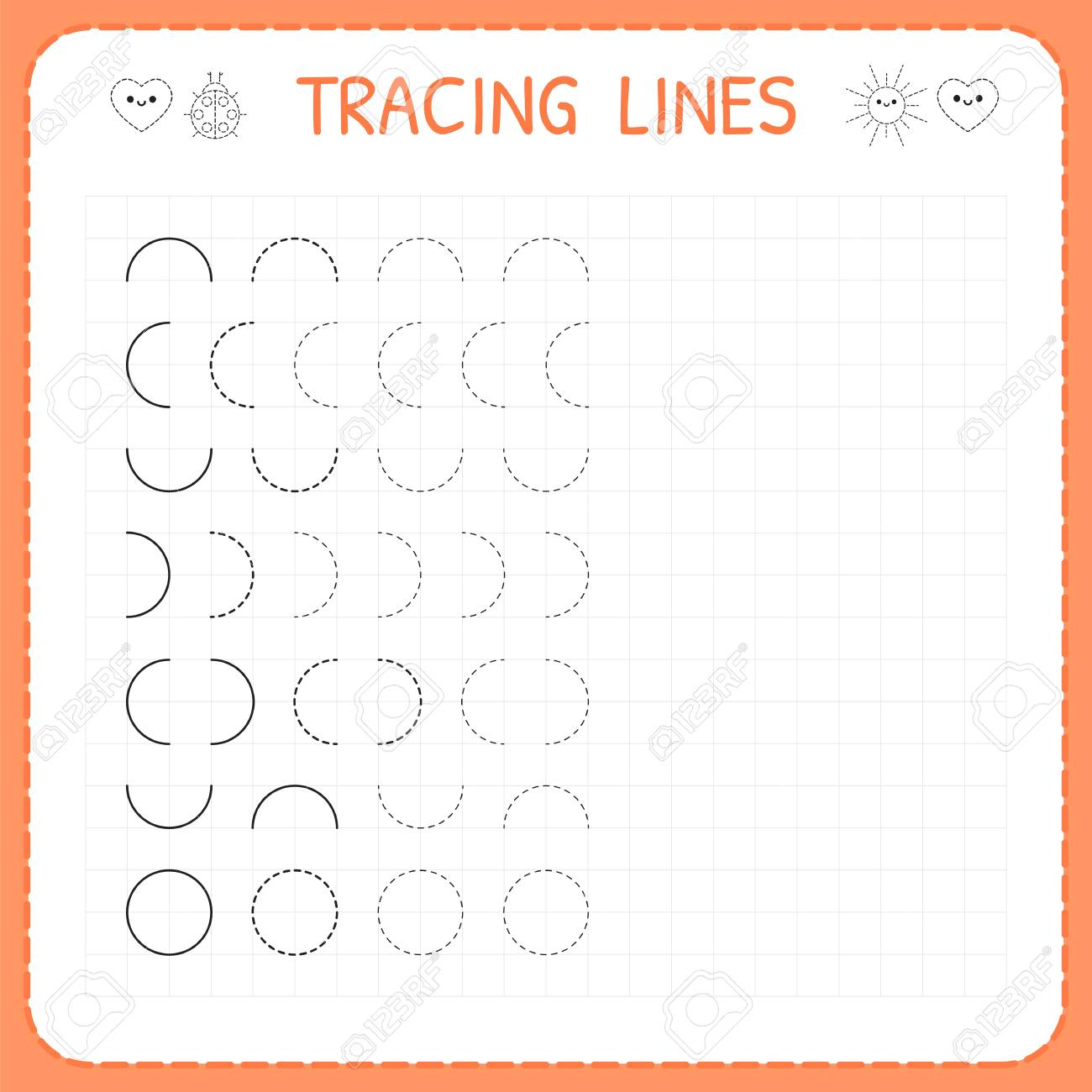 Tracing Lines Worksheet For Kids Basic Writing Working Pages