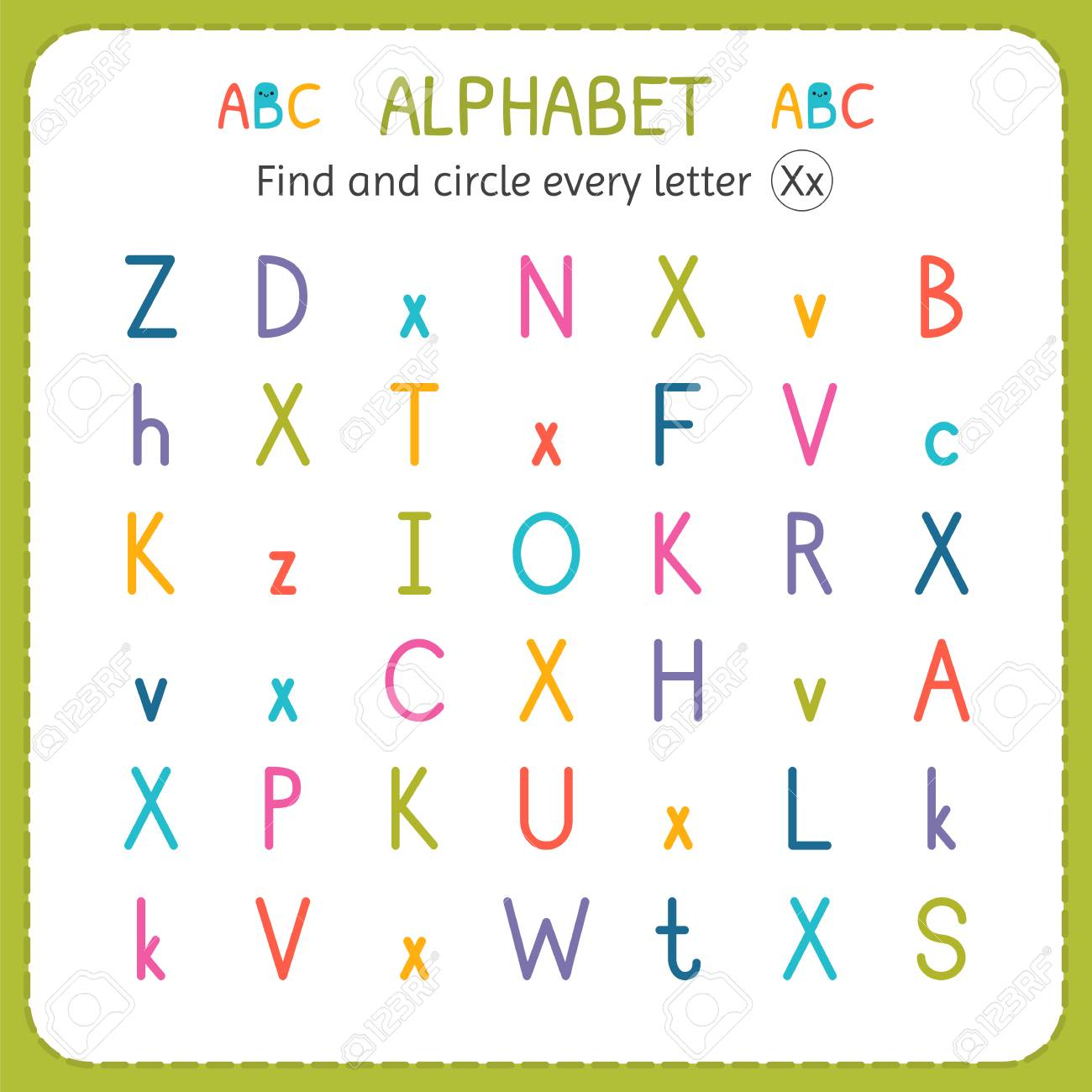 Find And Circle Every Letter X. Worksheet For Kindergarten And ...