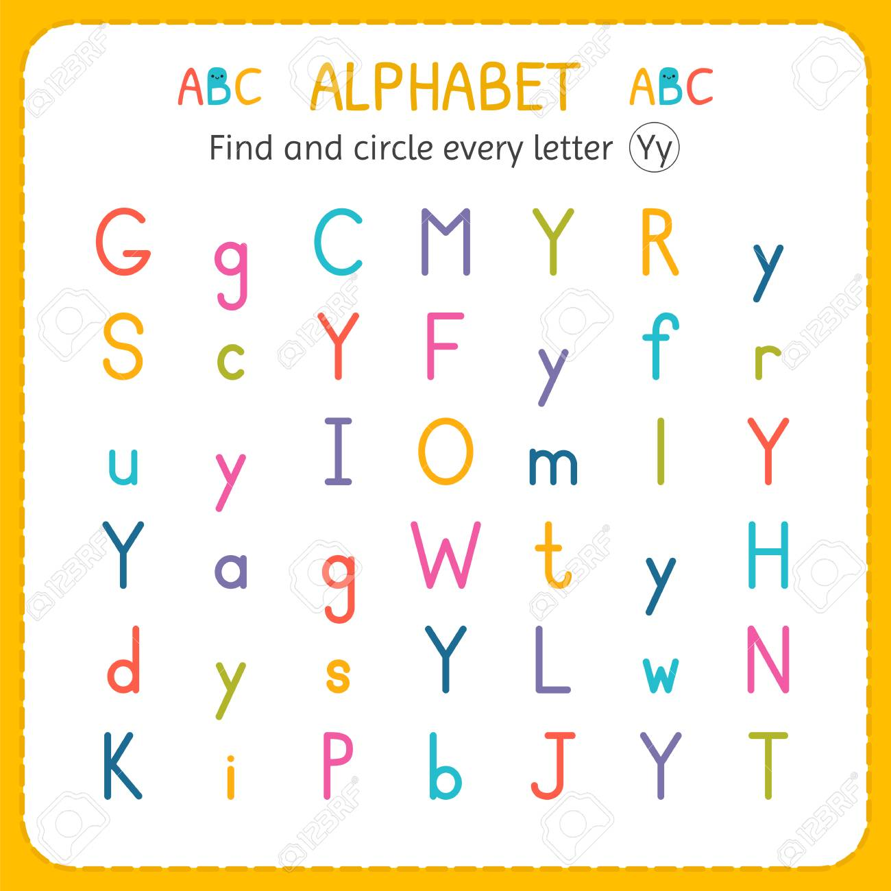 Find and circle every letter Y. Worksheet for kindergarten and..