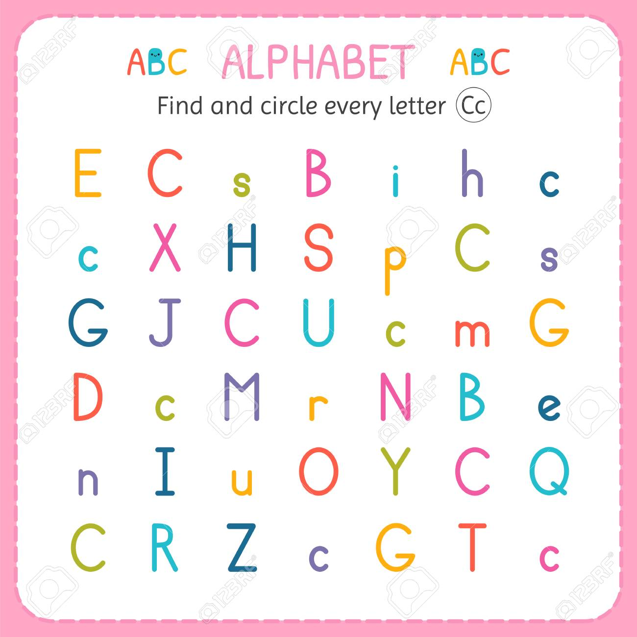 Find And Circle Every Letter C Worksheet For Kindergarten And Royalty Free Cliparts Vectors And Stock Illustration Image 100913266