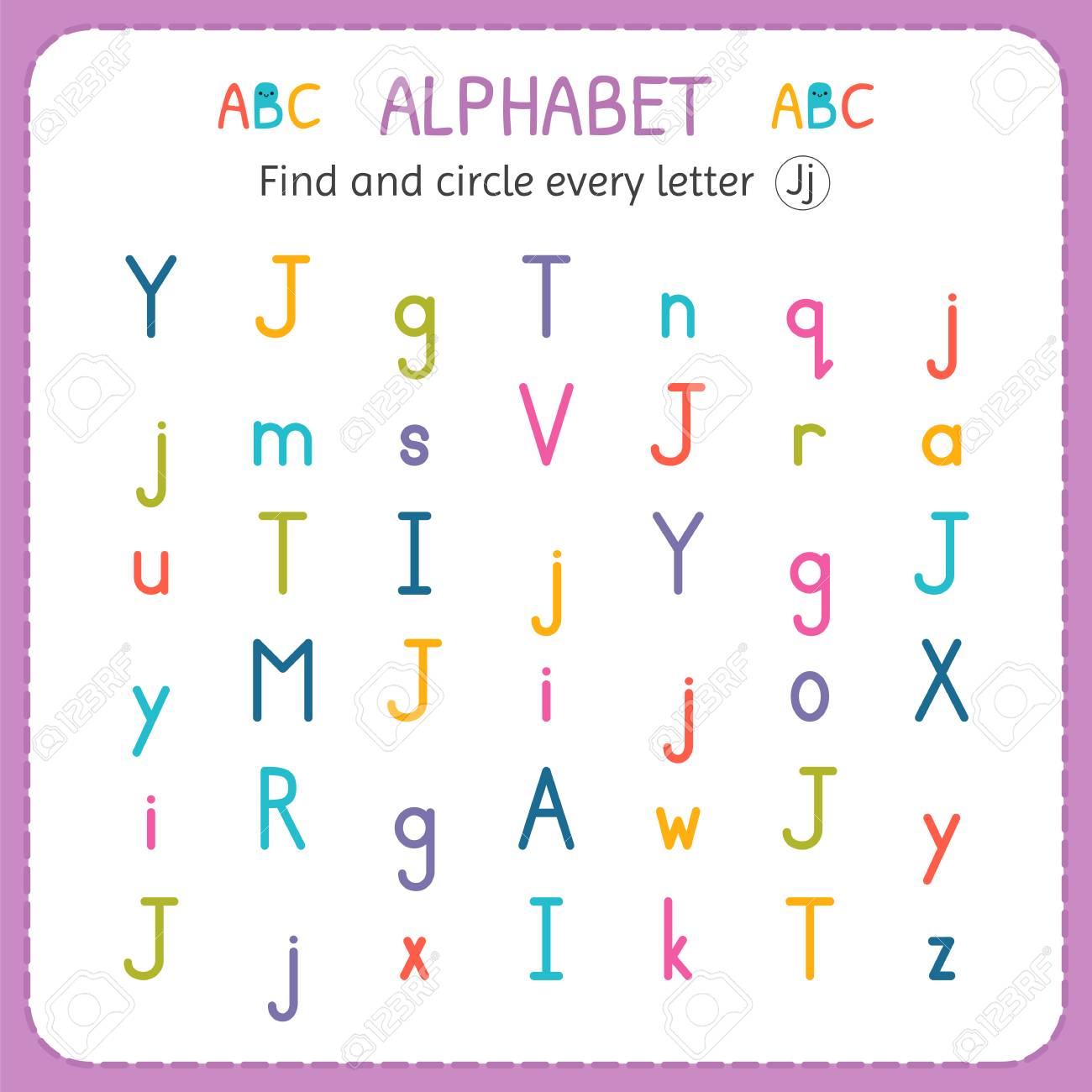 Find And Circle Every Letter J. Worksheet For Kindergarten And Preschool.  Exercises For Children