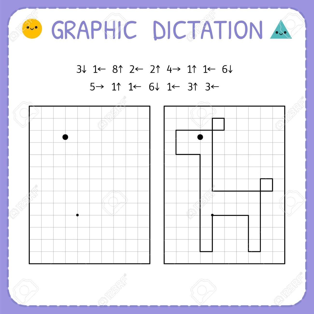 Graphic dictation. Giraffe. Kindergarten educational game for kids. Preschool worksheet for practicing motor skills. Working pages for children. Vector illustration - 123465007