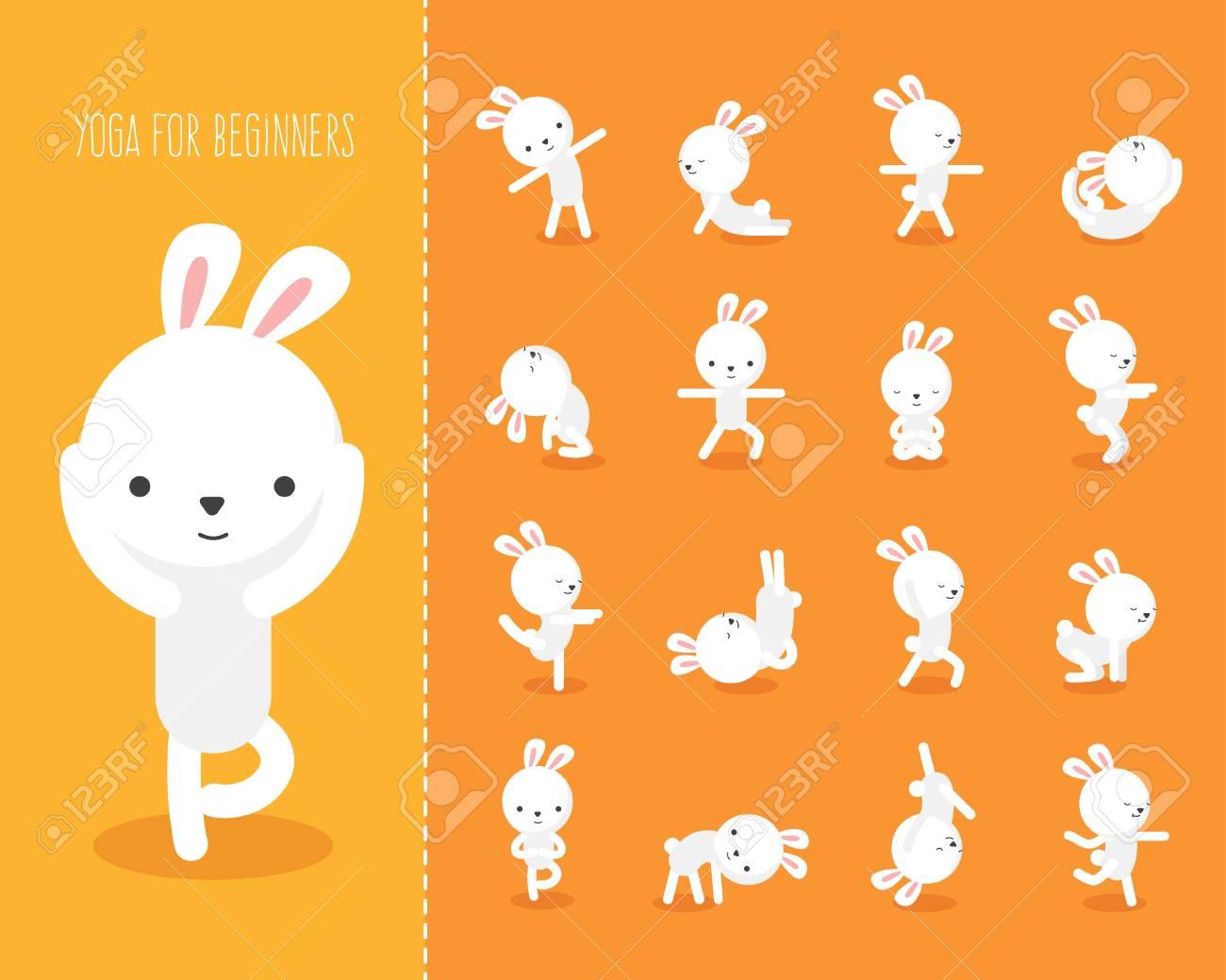 Yoga Fur Kinder Mit Kaninchen Lustige Yoga Lizenzfrei Nutzbare