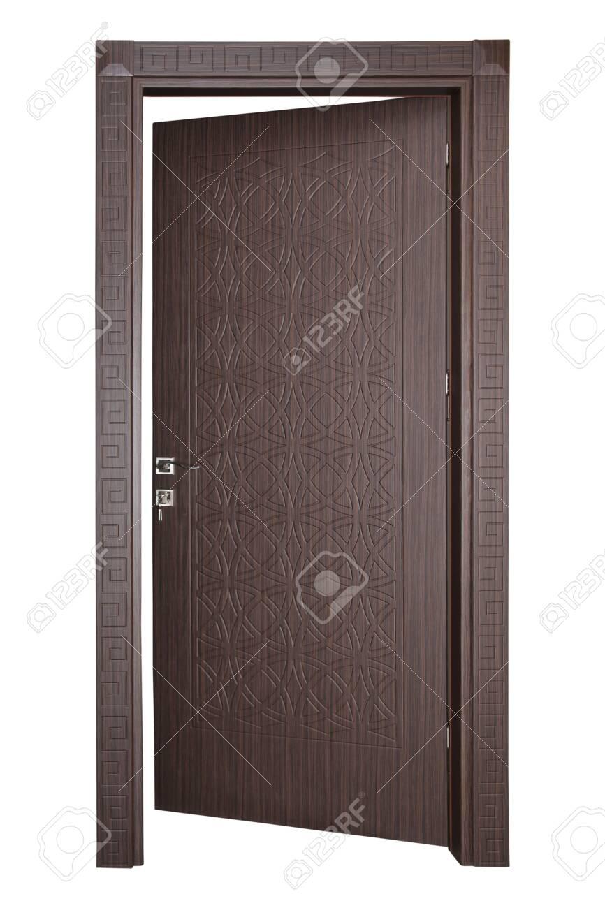 Modern wooden door on a white background - 156694822