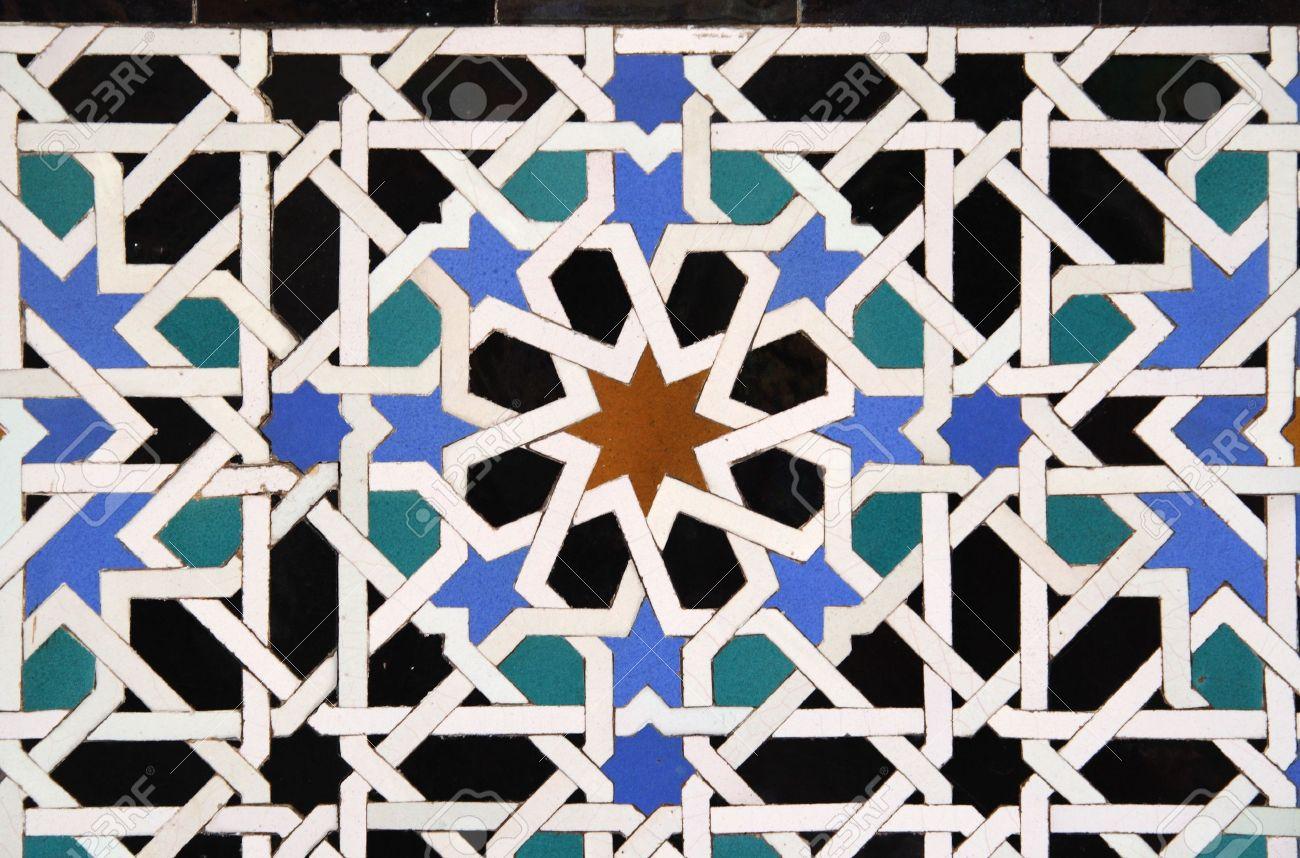 Arabic Tile Detail in the Alcazar in Sevilla, Spain Stock Photo - 3438454