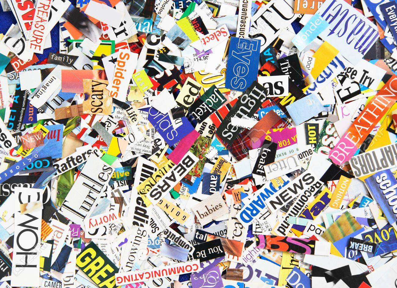 Words clipped from magazines form a colorful background Stock Photo - 5299338