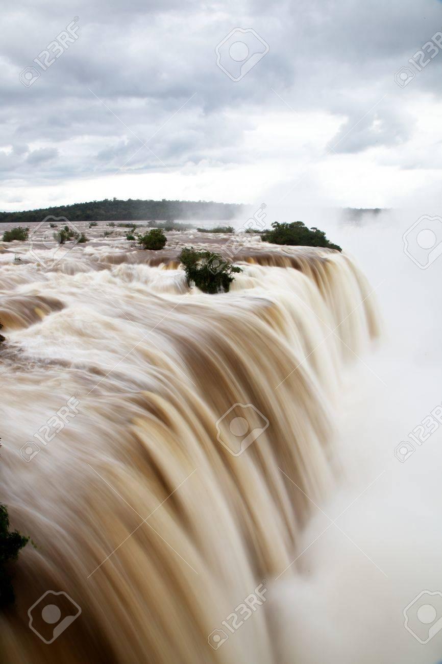 Iguazu Falls after a heavy winter rain, as seen from the Brazilian side Stock Photo - 15654653