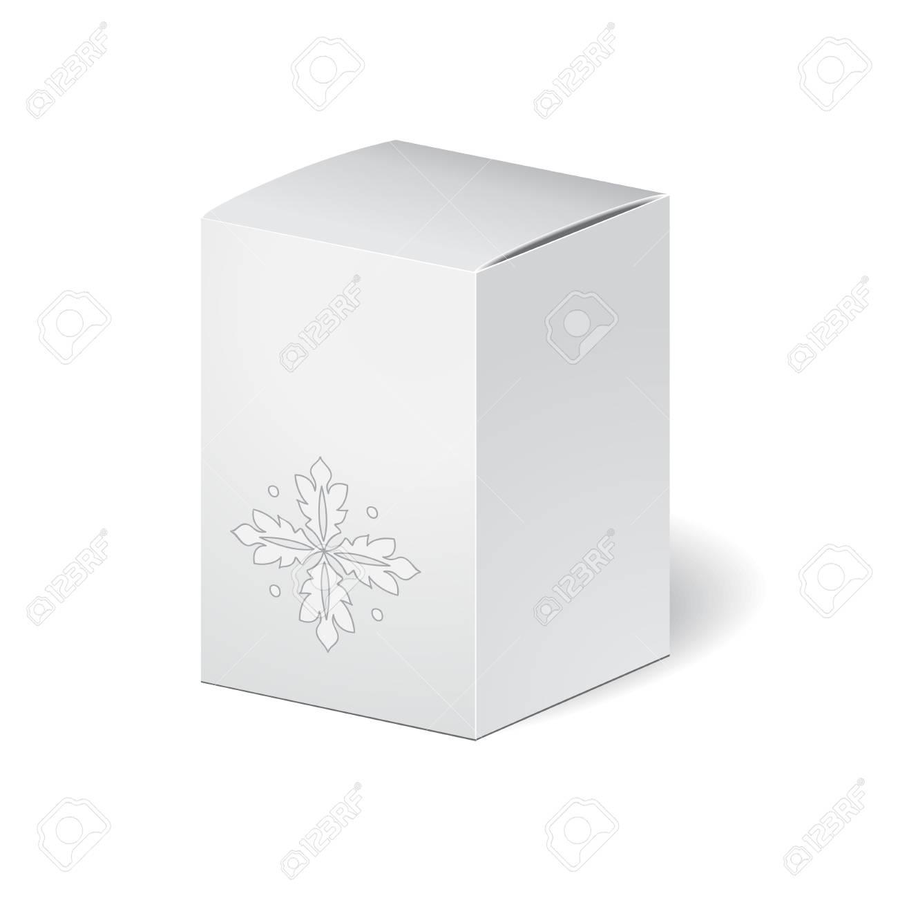 Paquete De Cartón Caja Aislada En El Fondo Blanco. Mosk Arriba ...
