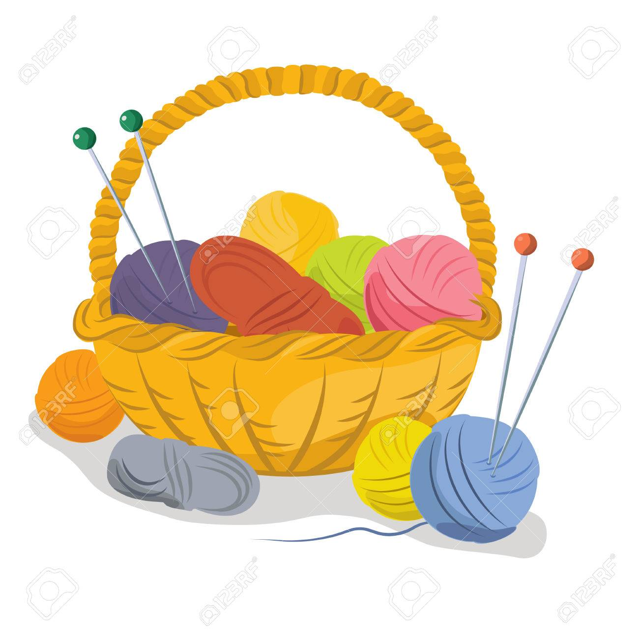 basket with yarn for knitting royalty free cliparts vectors and rh 123rf com knitting clip art pictures knitting clip art black and white