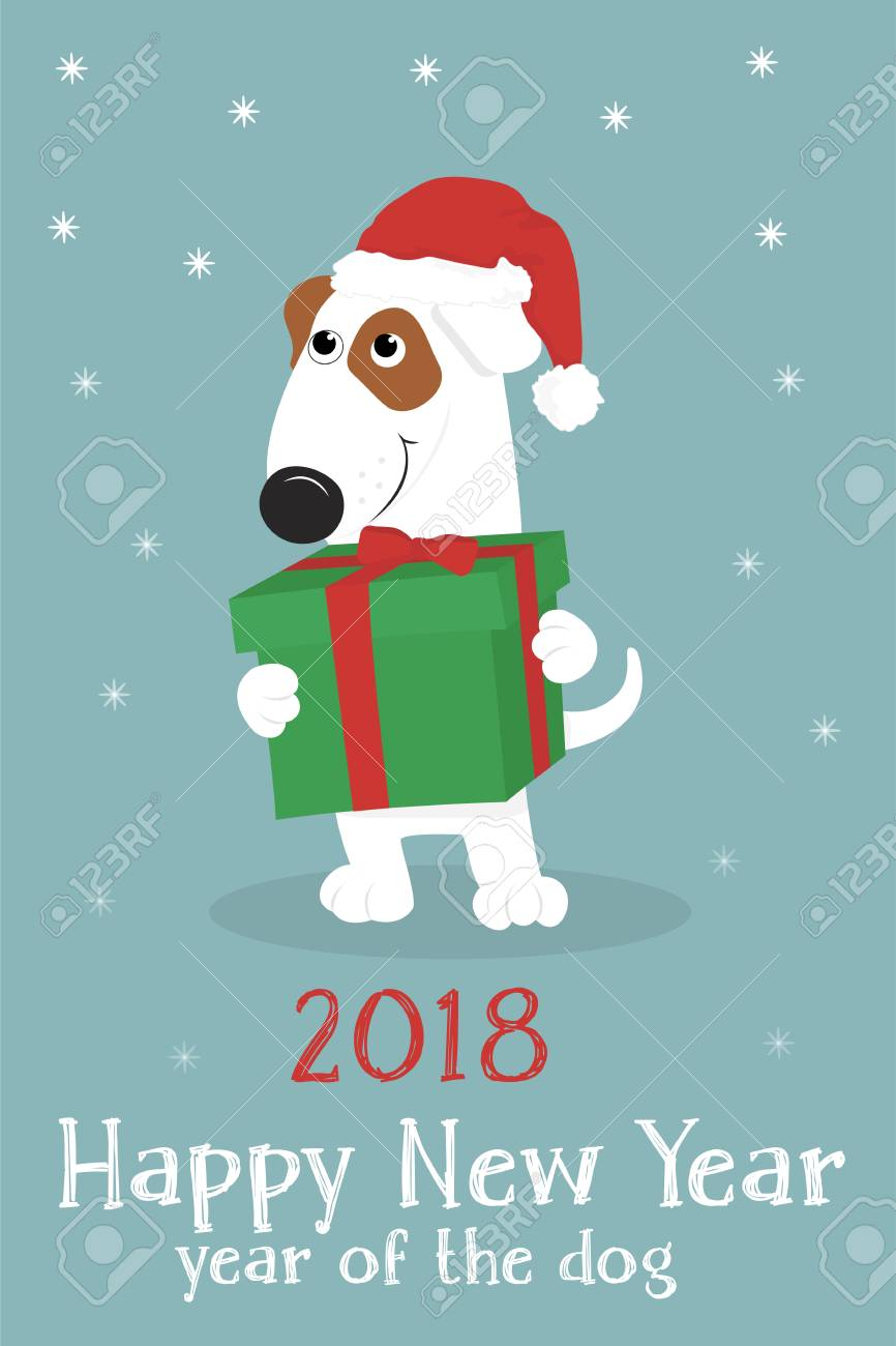 Christmas Card With A Cute Cartoon Dog In A Red Santa Hat And ...