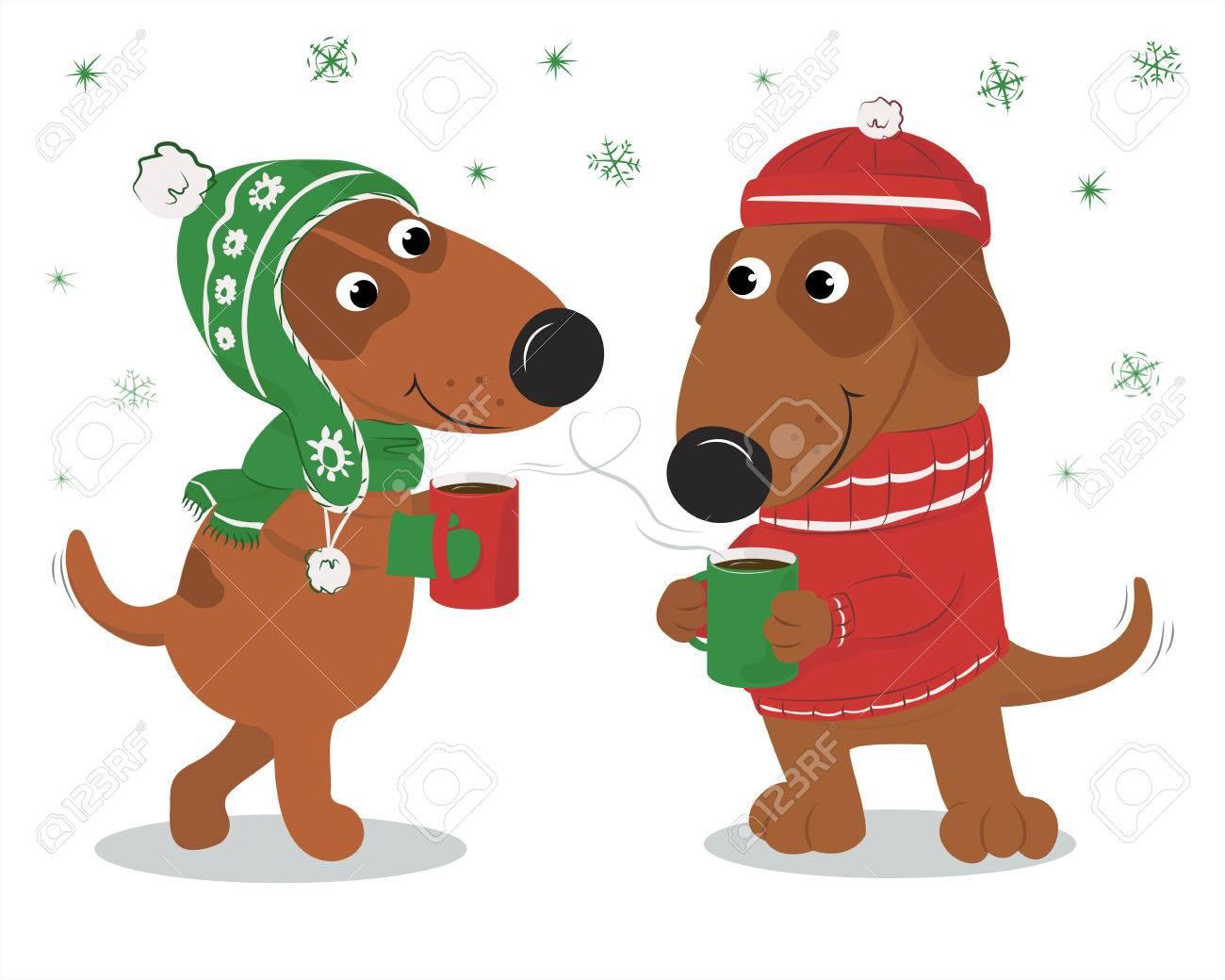 Vettoriale cartolina di natale con cani simpatico cartone