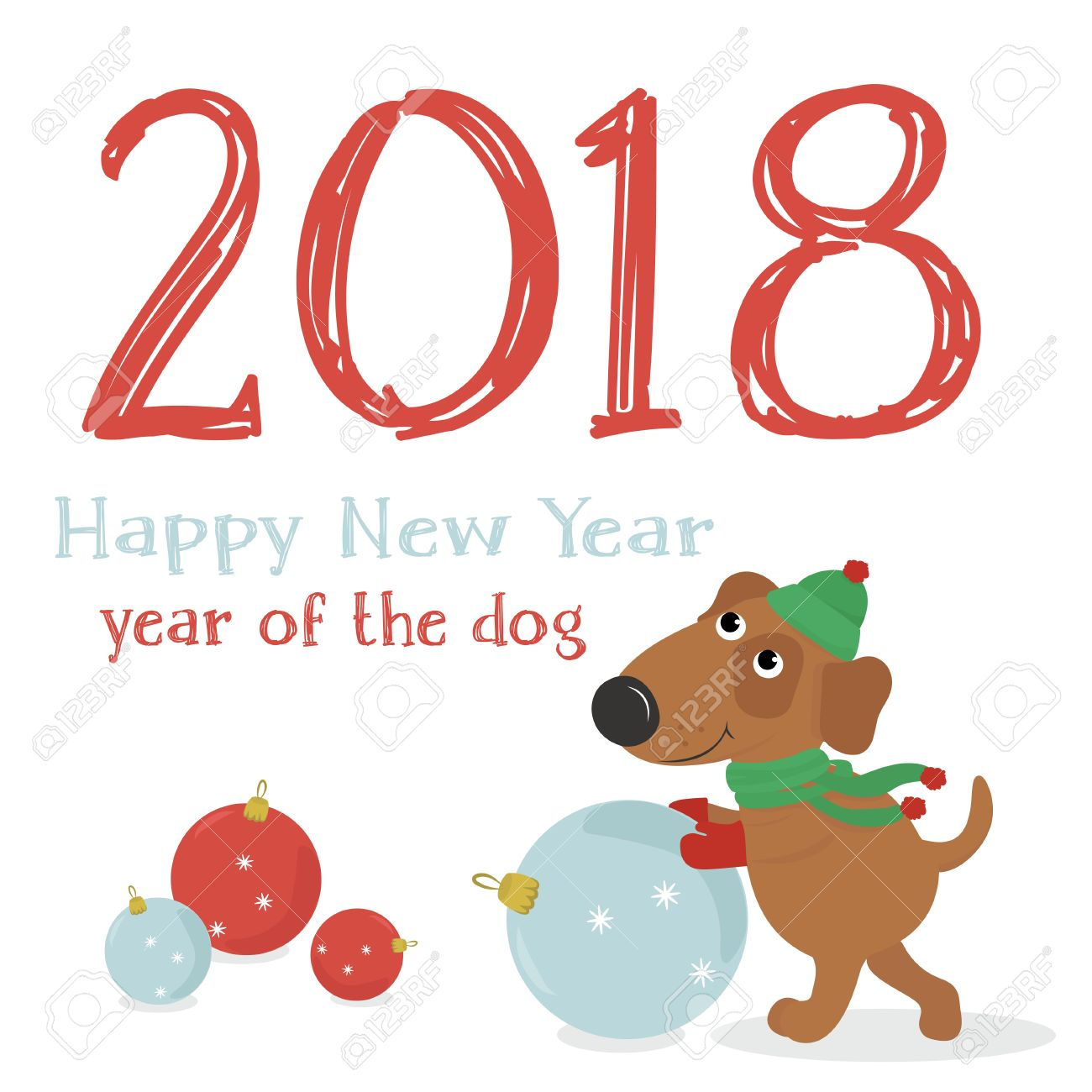 New 2018 The Chinese Year Of The Yellow Dog Greetings With Stock