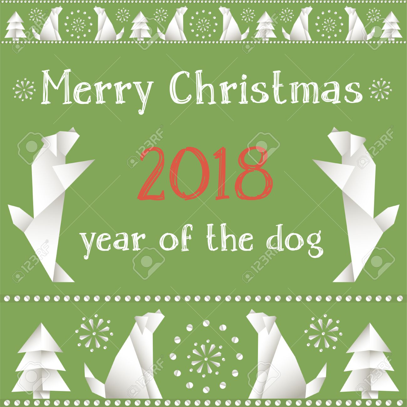 New 2018 the chinese year of the yellow dog christmas card stock the chinese year of the yellow dog christmas card with dogs on m4hsunfo