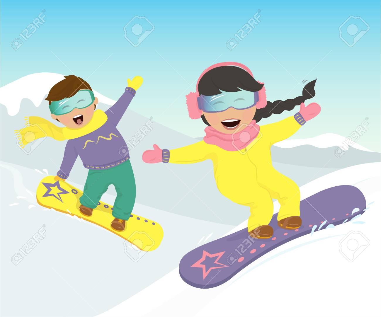 Merry Girl And Boy Snowboarding In The Mountains Vector Illustration Royalty Free Cliparts Vectors And Stock Illustration Image 84928447