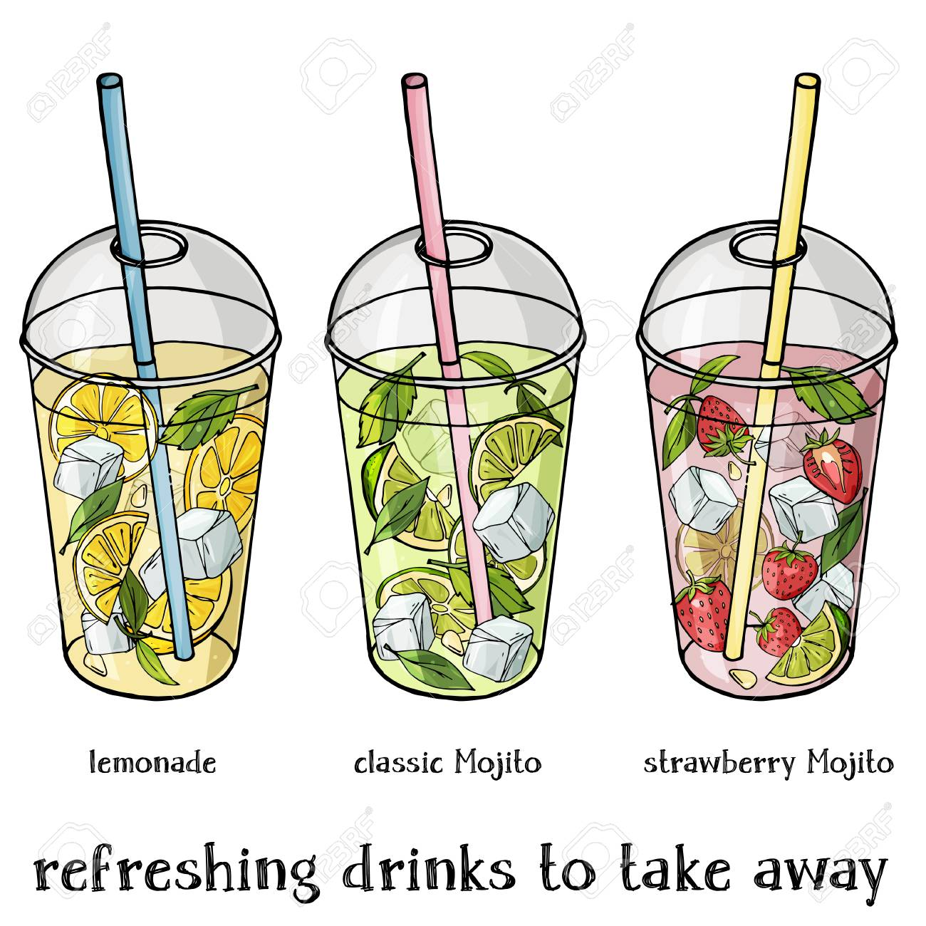 Set of non-alcoholic summer drinks in a plastic Cup to take away