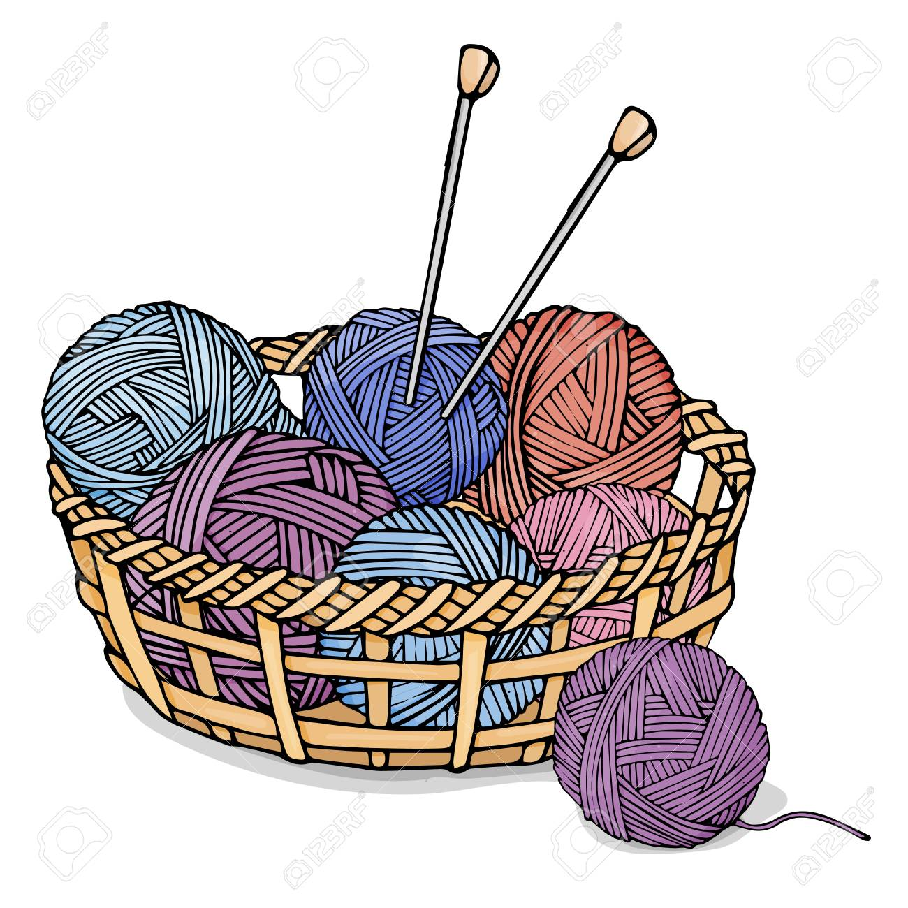 Tangles Of Different Colors With Wool For Knitting In A Wicker Royalty Free Cliparts Vectors And Stock Illustration Image 111889252