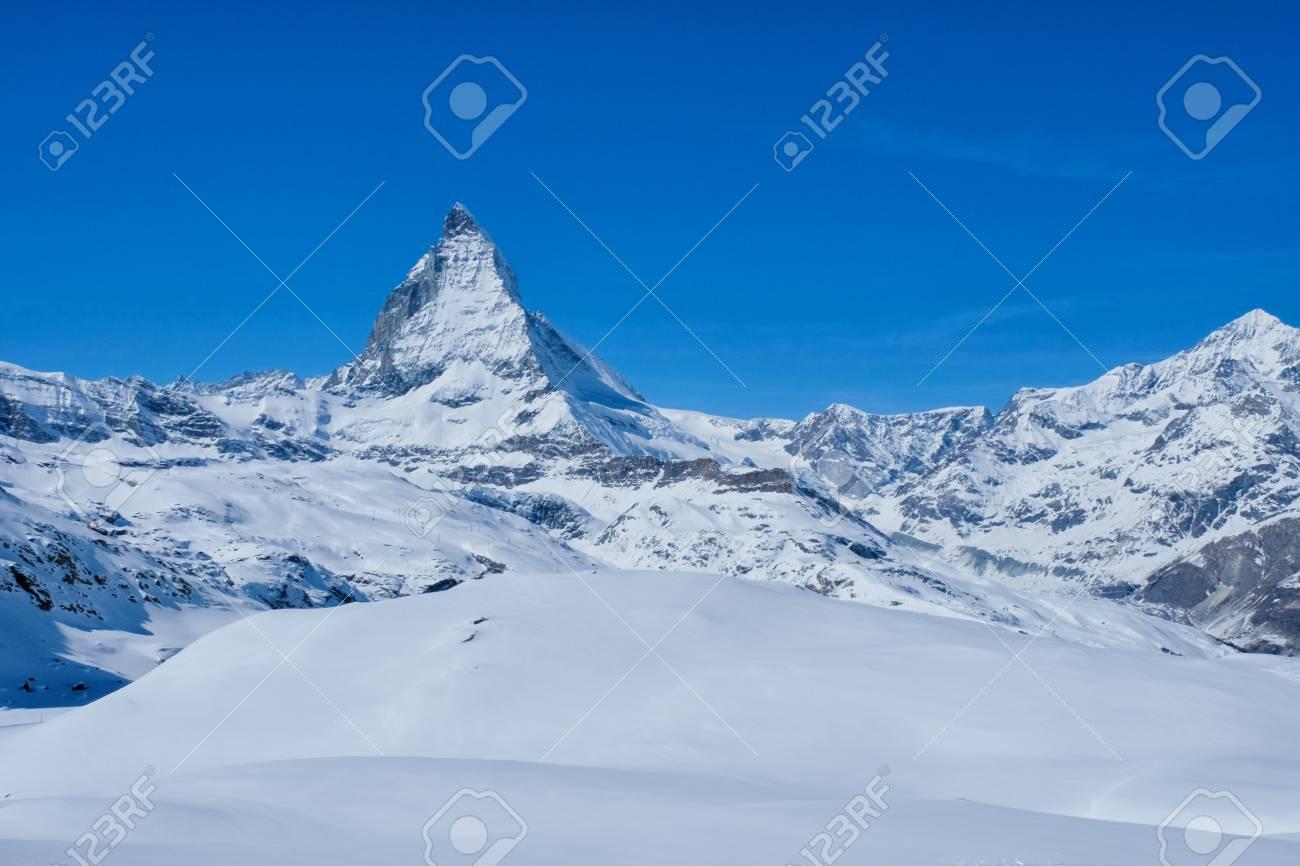 Panoramic beautiful view of snow mountain Matterhorn peak, Zermatt, Switzerland. - 90085602