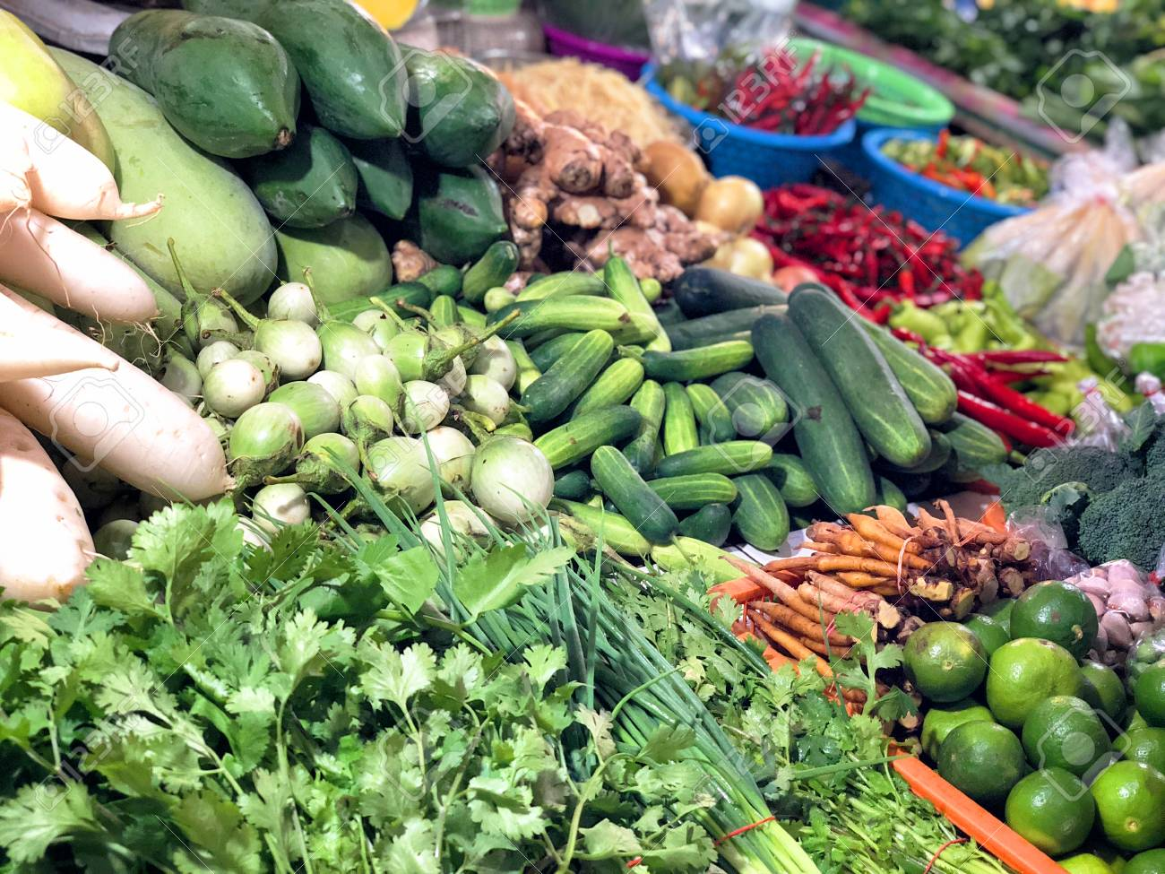 Fresh Fruit And In Vegetable Shop On Street Market, Thailand Stock ...