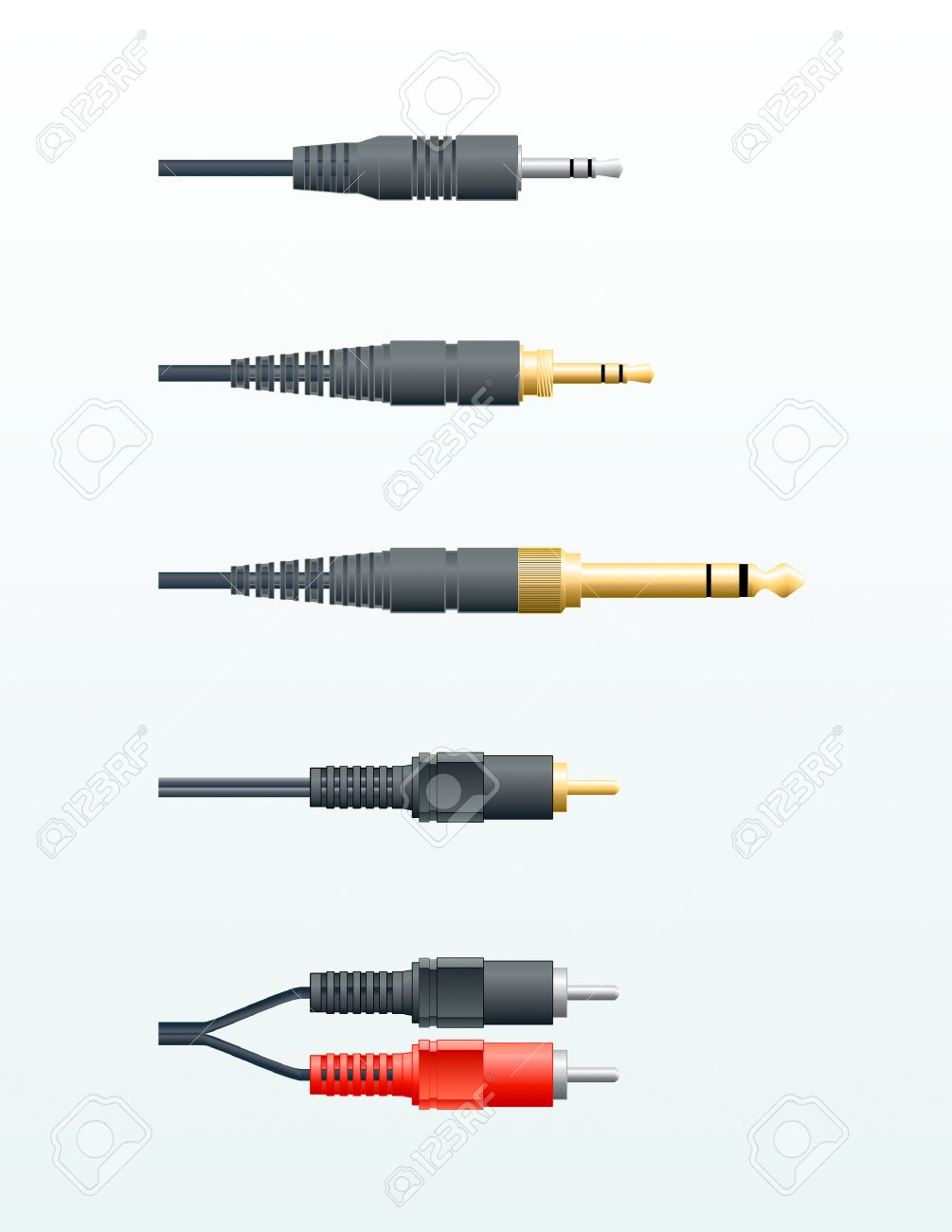 Different Types Of Audio Cables In Vector Royalty Free Cliparts ...