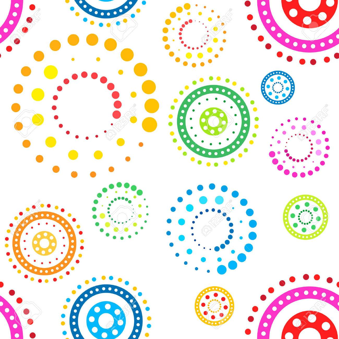 Colorful seamless circles pattern on white background Stock Vector - 2911786