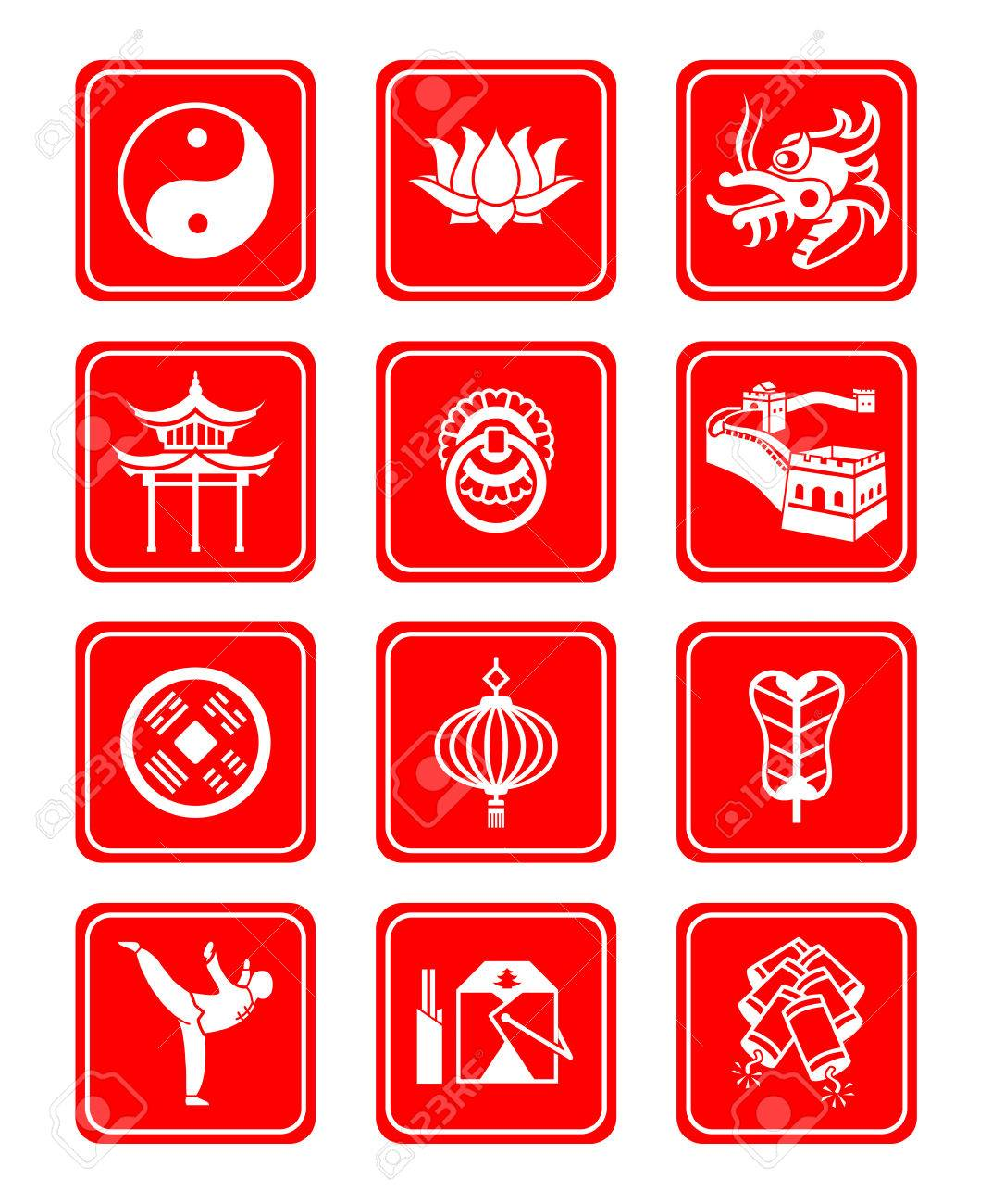 Traditional Chinese culture symbols and objects icon set. Stock Vector - 4225951