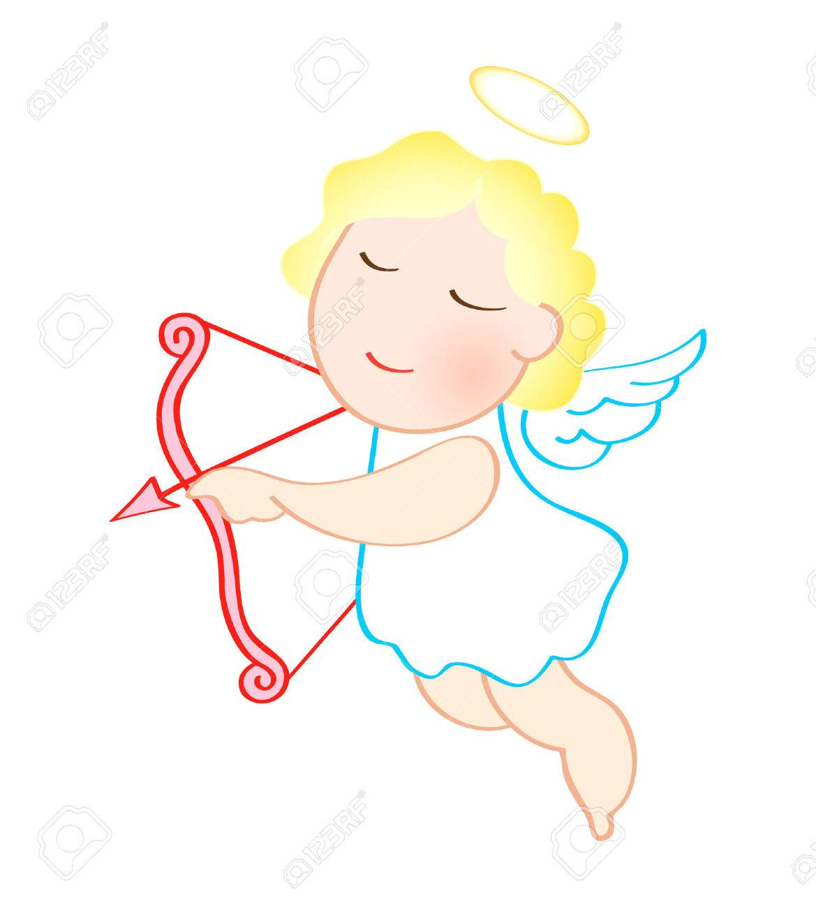 Funny cartoon angel with bow and arrow isolated over white Stock Vector - 5087794