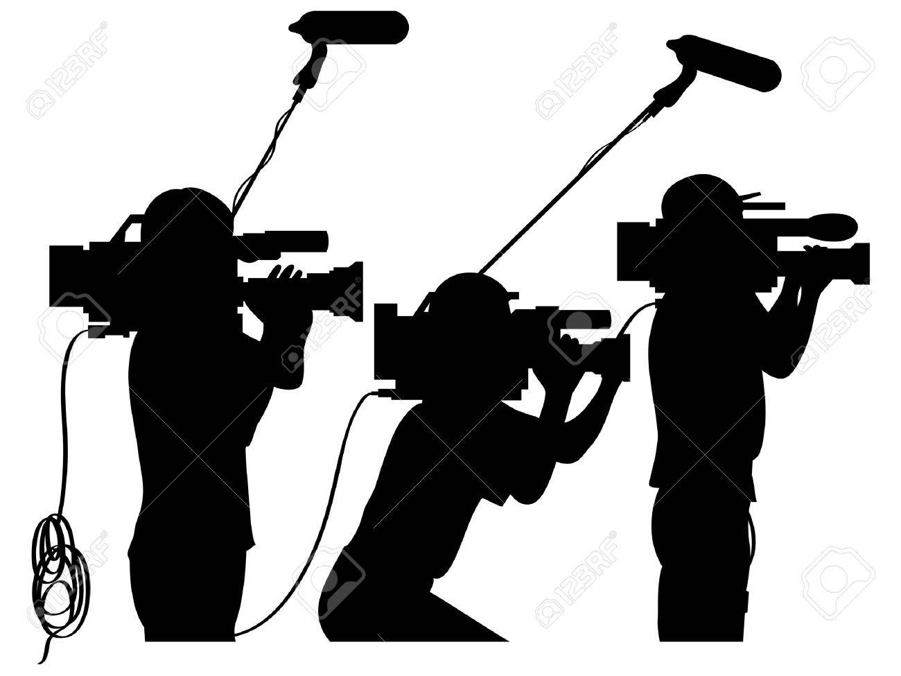 Cameraman at work silhouettes side view Stock Vector - 5566739