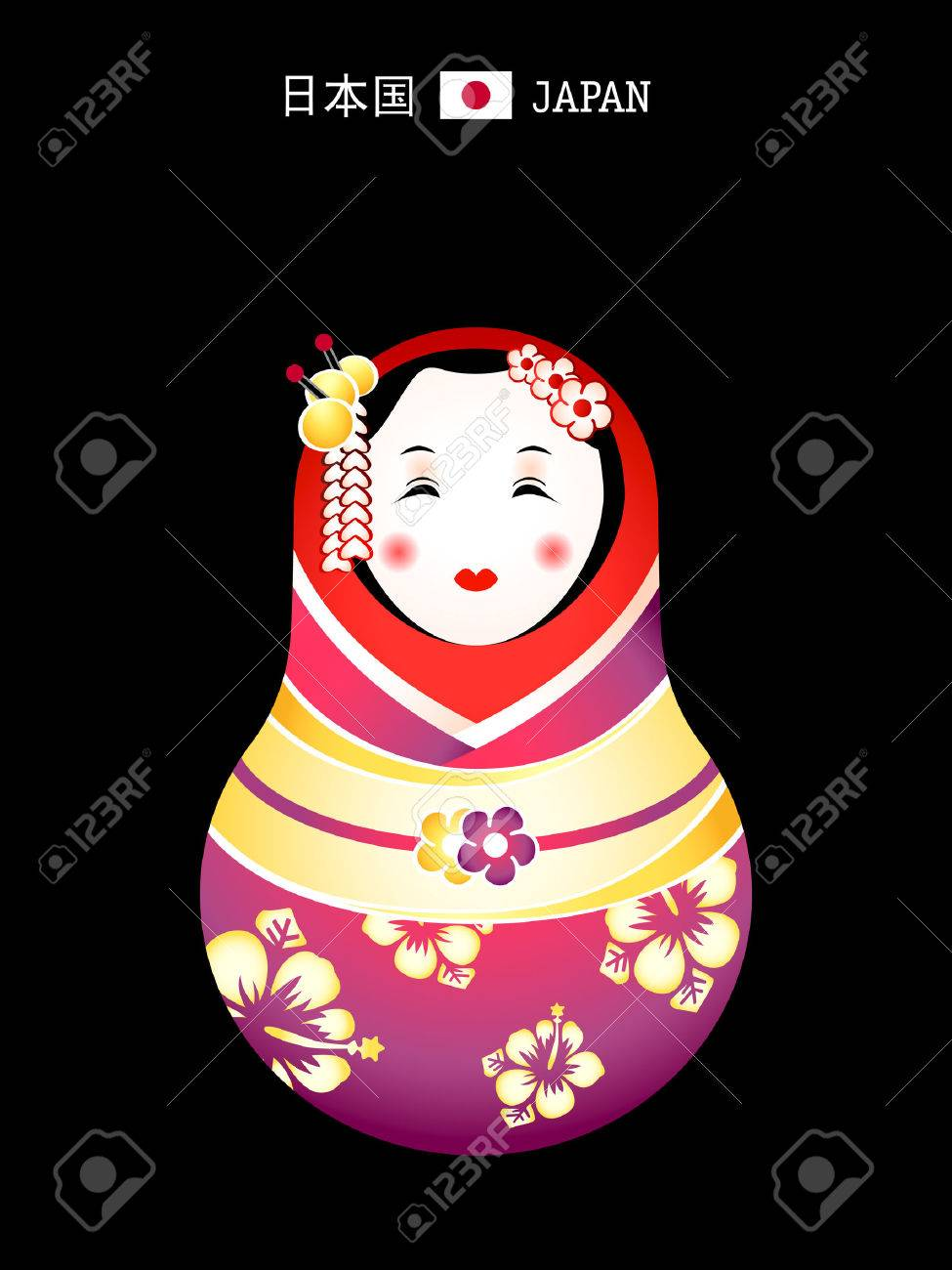 Matryoshkas of the World: japanese geisha doll Stock Vector - 5914119