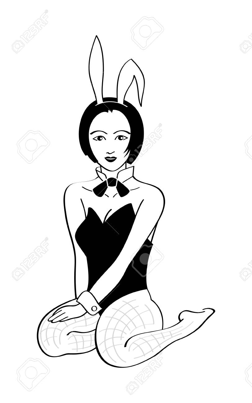 Sitting cute bunny girl isolated over white Stock Vector - 6197271