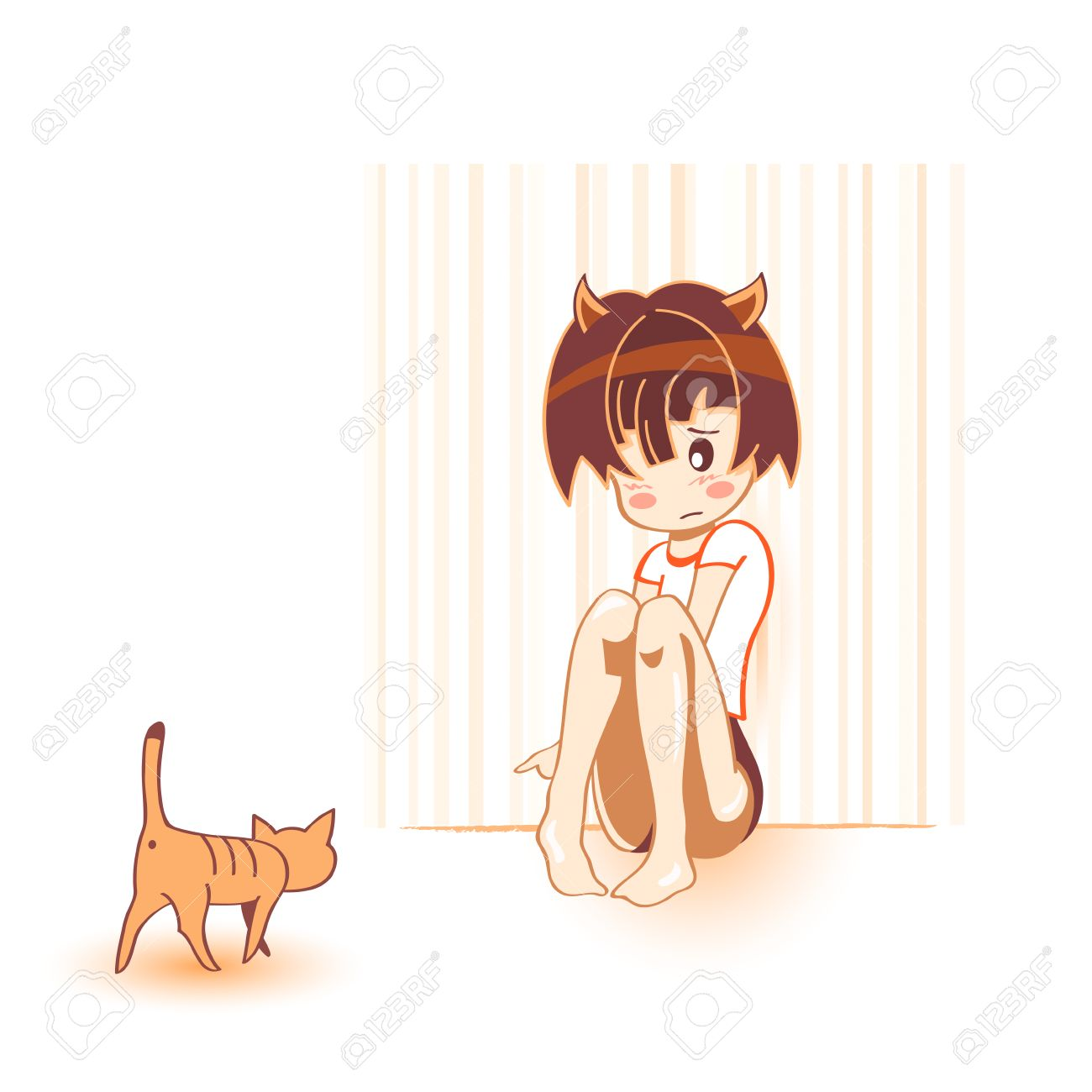 shy cat girl with brave cat in kawaii anime style royalty free
