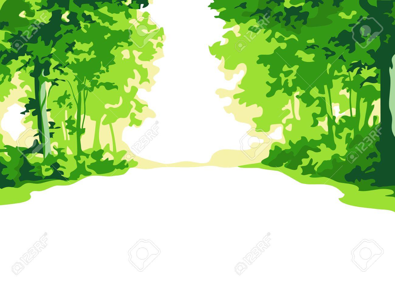 緑の夏の森の背景のイラスト素材ベクタ Image 6329282