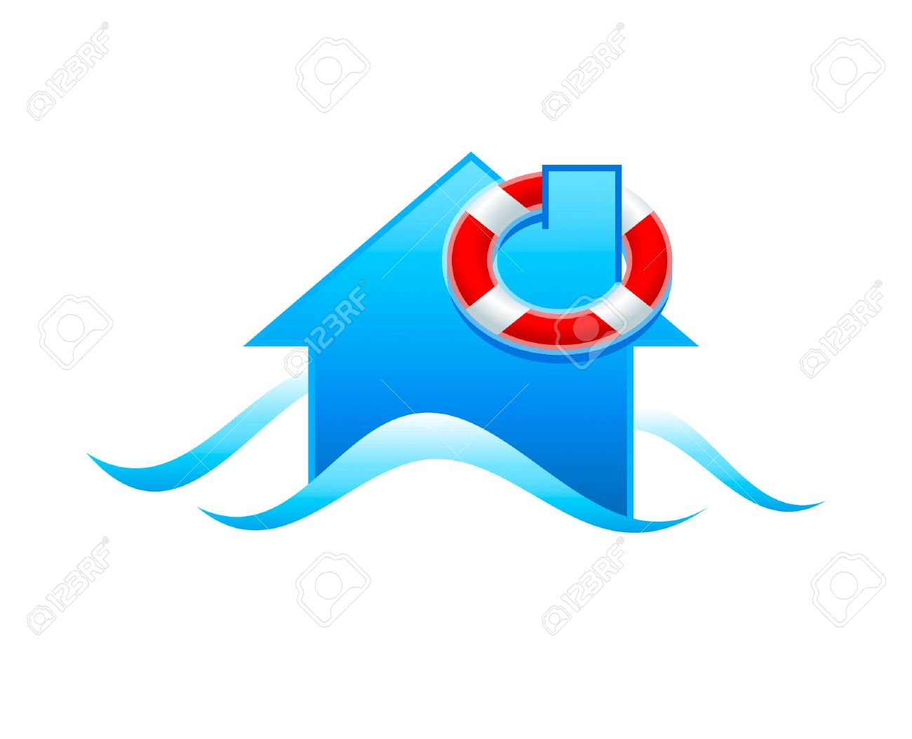 House with life guard under flooding water isolated Standard-Bild - 6431653