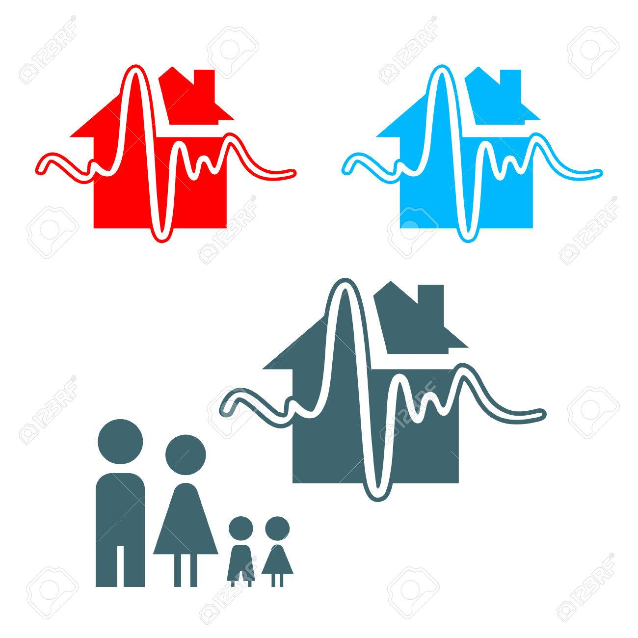 Earthquake insurance icon with family isolated Stock Vector - 6431655
