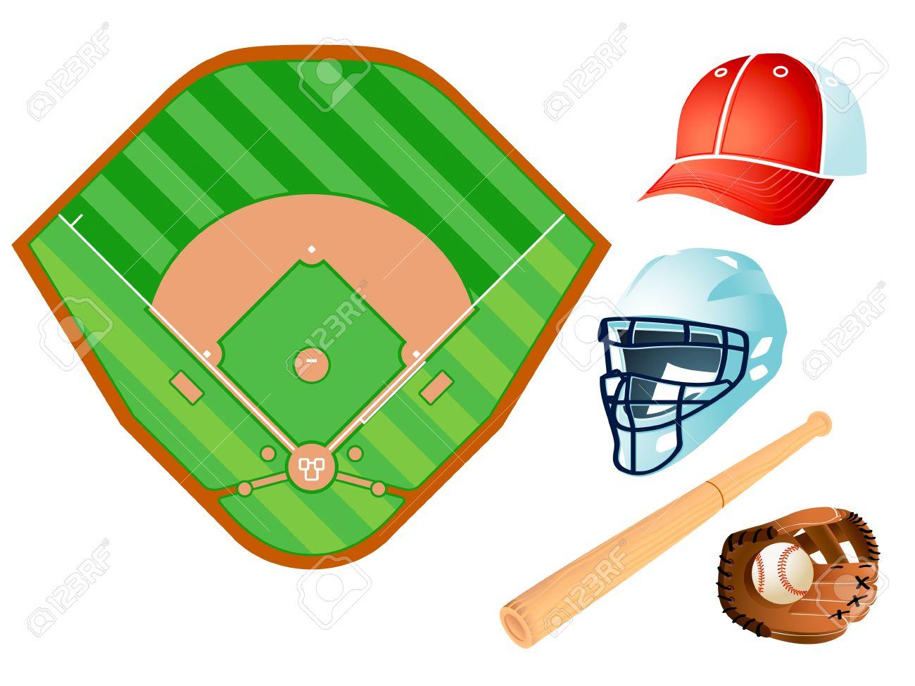 Baseball field layout and bat, helmet, glove, ball and cap Stock Vector - 6654644