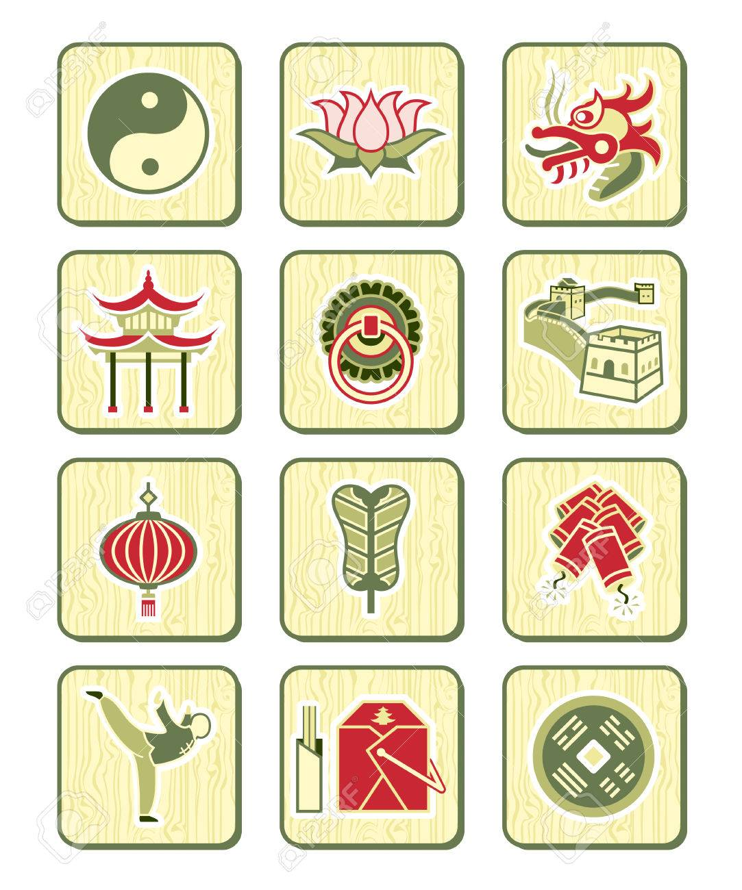 Traditional Chinese Culture Symbols And Objects Icon Set Royalty