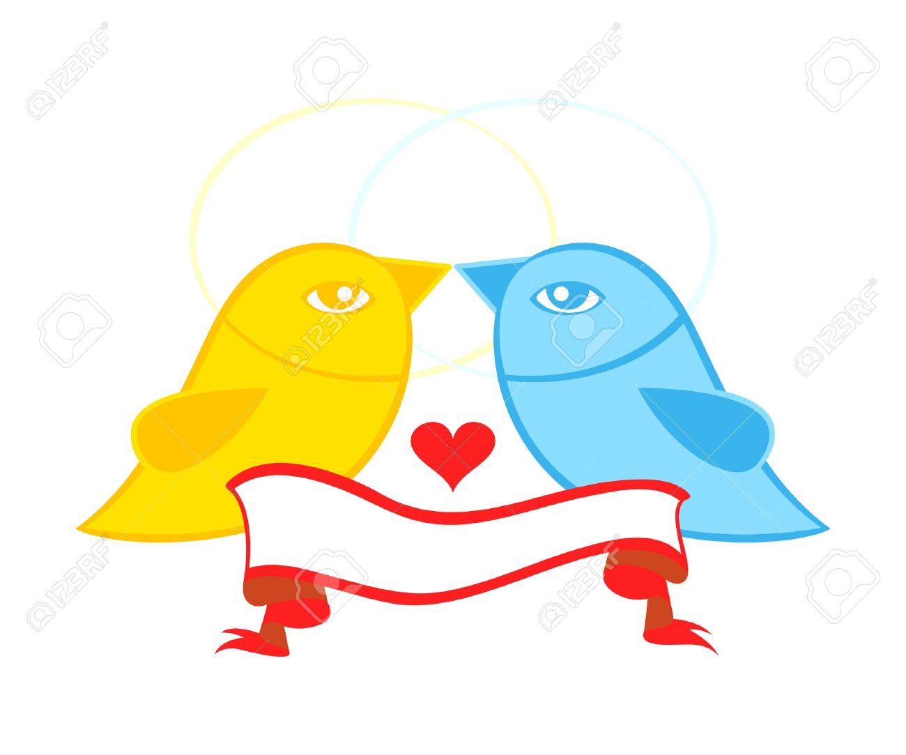 Valentine Or Wedding Card Symbol Birds In Love With Banner Royalty