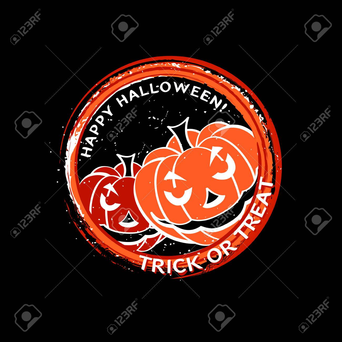 Grungy Halloween stamp with pumpkins Stock Vector - 7724604
