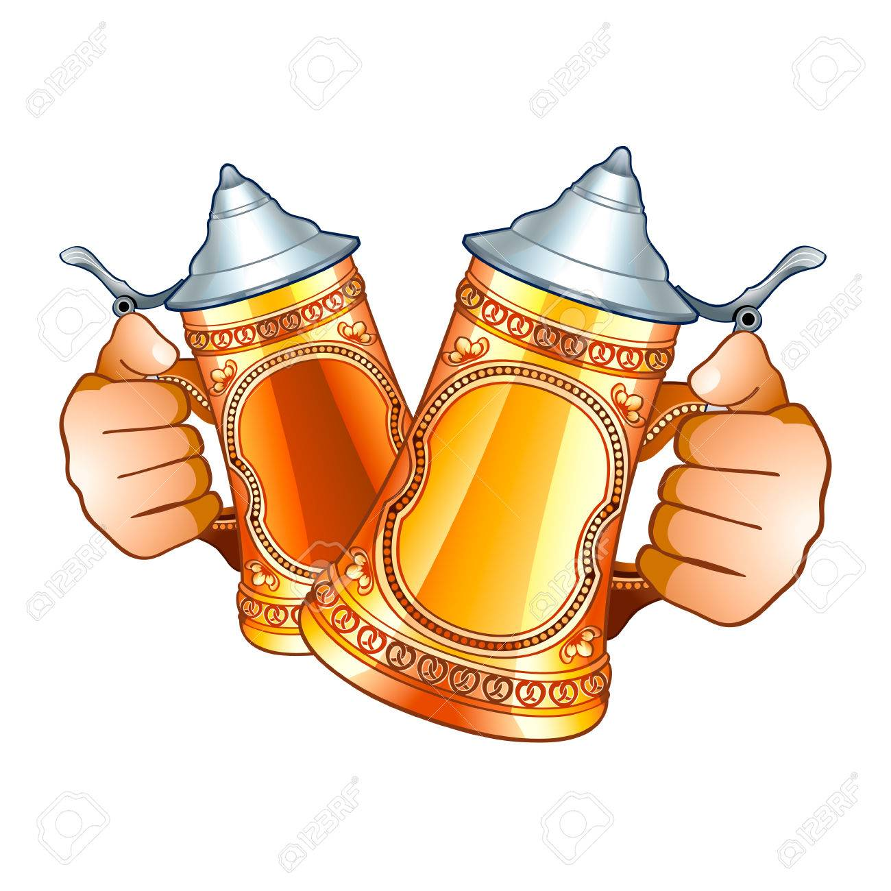 Human hands with decorated beer steins isolated Stock Vector - 7877010