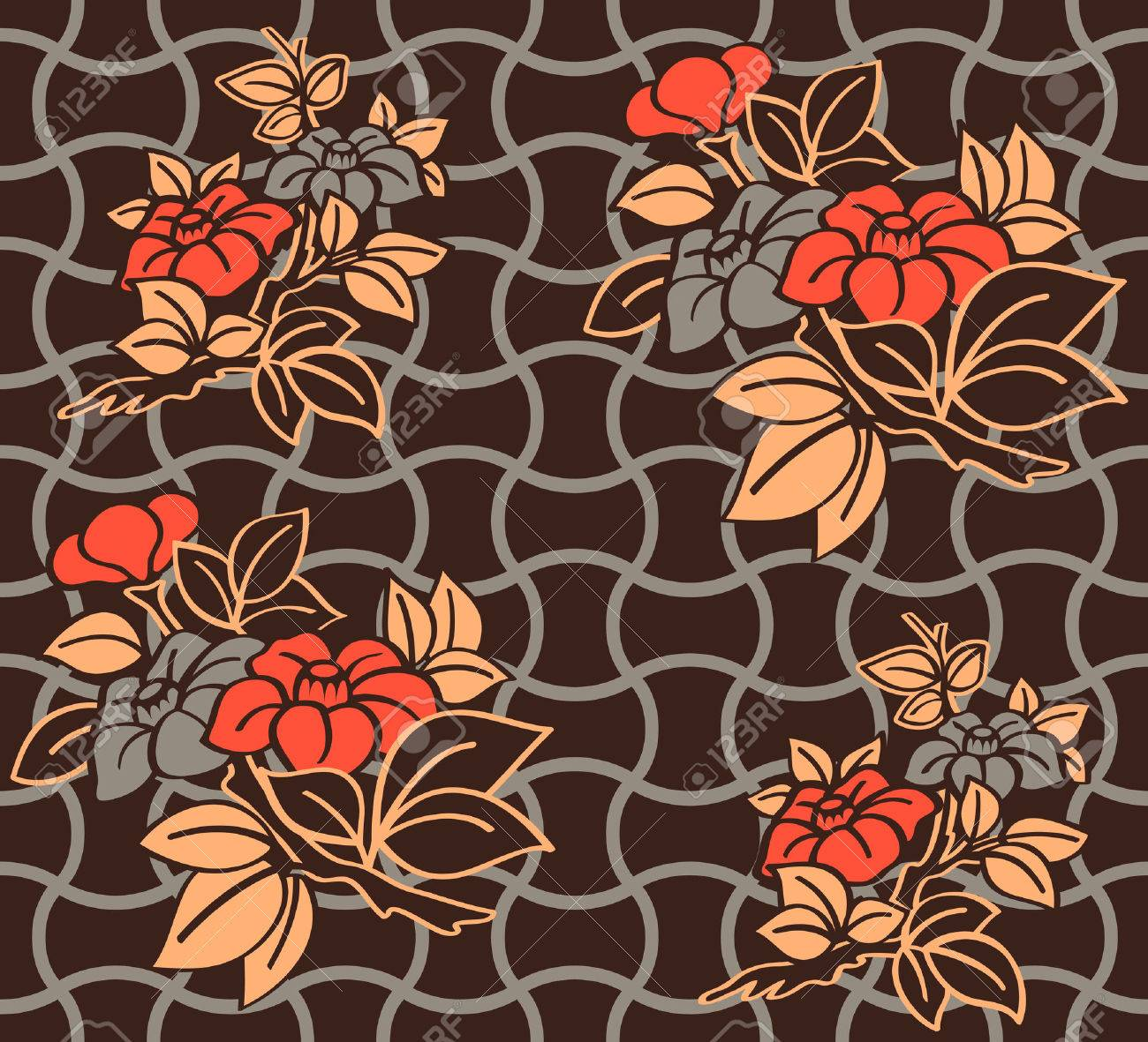 Seamless floral kimono pattern in warm night colors Stock Vector - 7877020