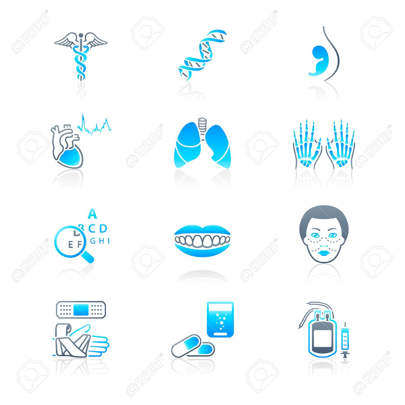 Medical symbols, specialties, human organs and health-care objects Stock Vector - 8142266