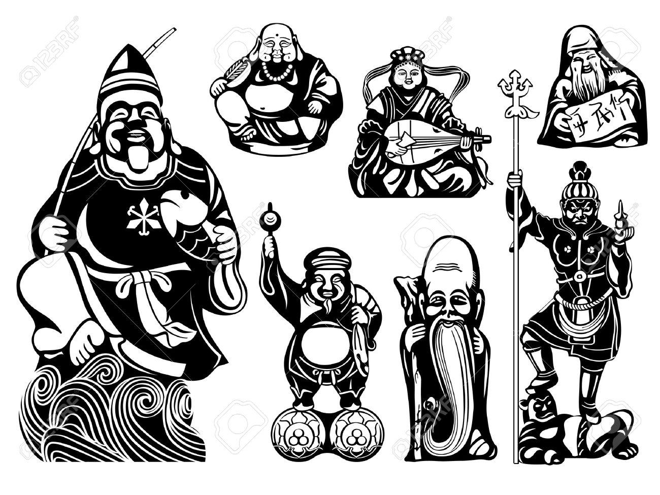 日本七福神 恵比寿布袋弁財天寿老人大黒福禄寿毘沙門天