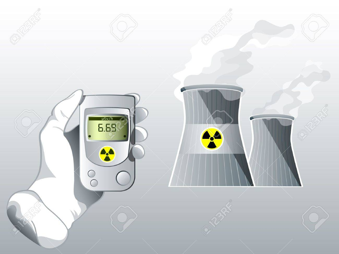 Hand with Geiger counter near nuclear power station Stock Vector - 9181154