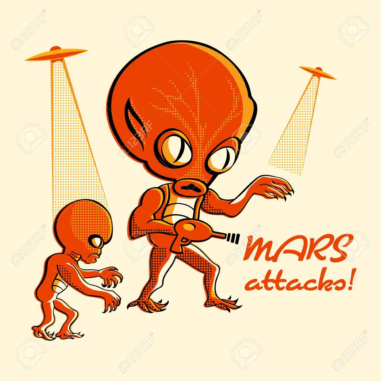 Martian invasion in retro three color print halftone pattern Stock Vector - 9407665