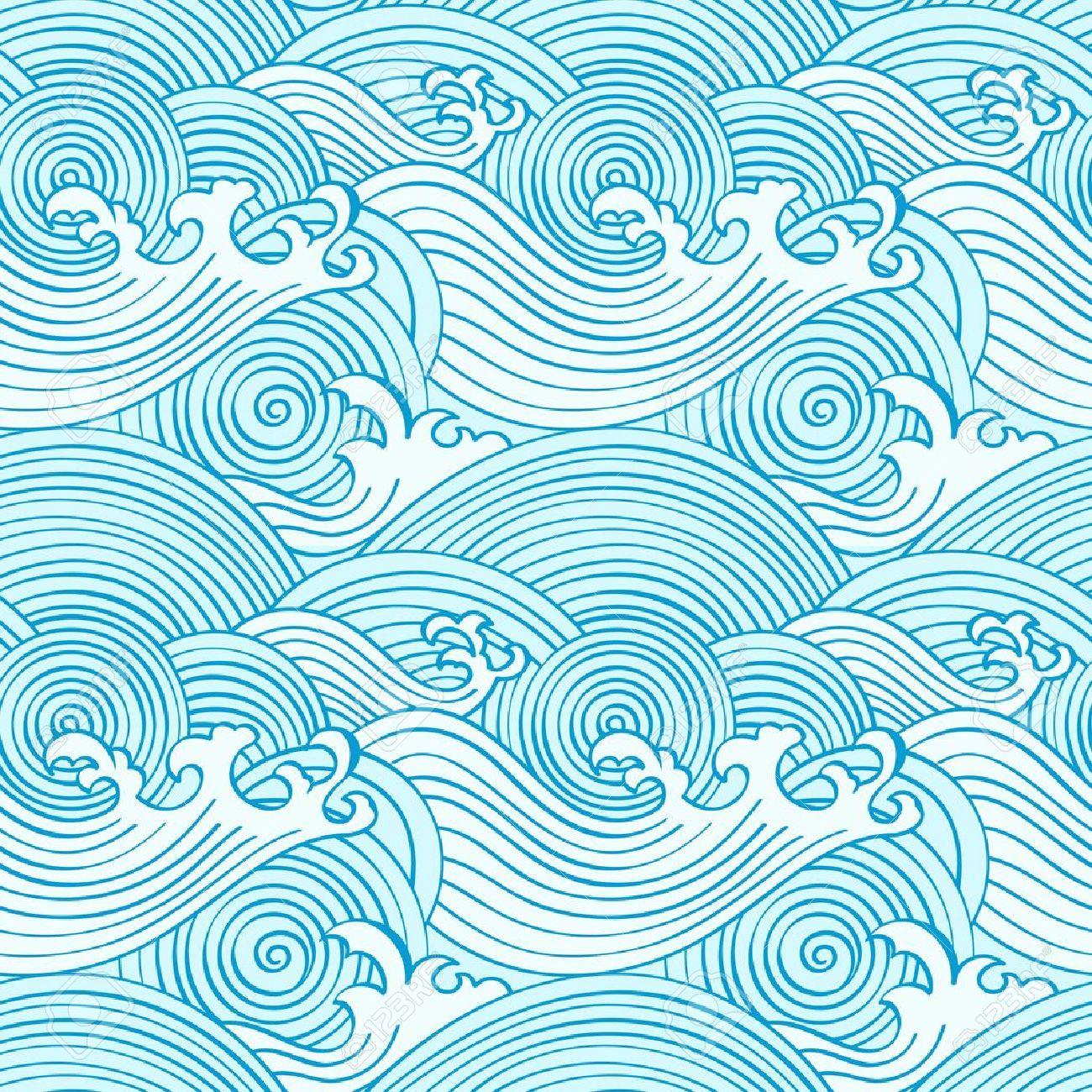 Japanese seamless waves pattern in ocean colors Stock Vector - 9447976