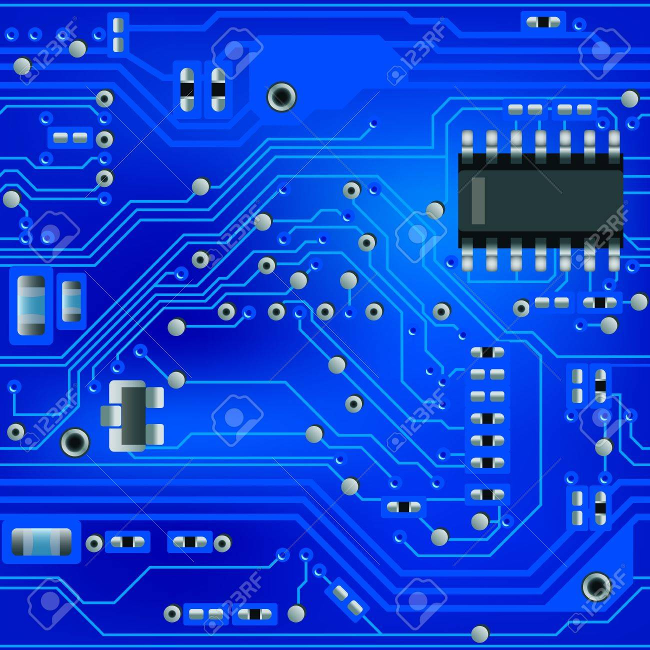 Seamless abstract blue circuit board pattern - 9566124