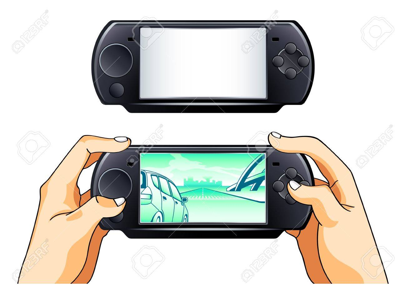 Portable gamepad blank and with gamer hands Stock Vector - 9566128