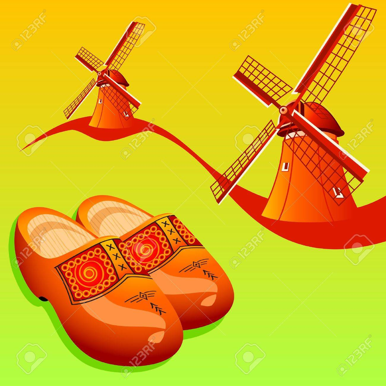 dutch wooden shoes klompen and windmills royalty free cliparts