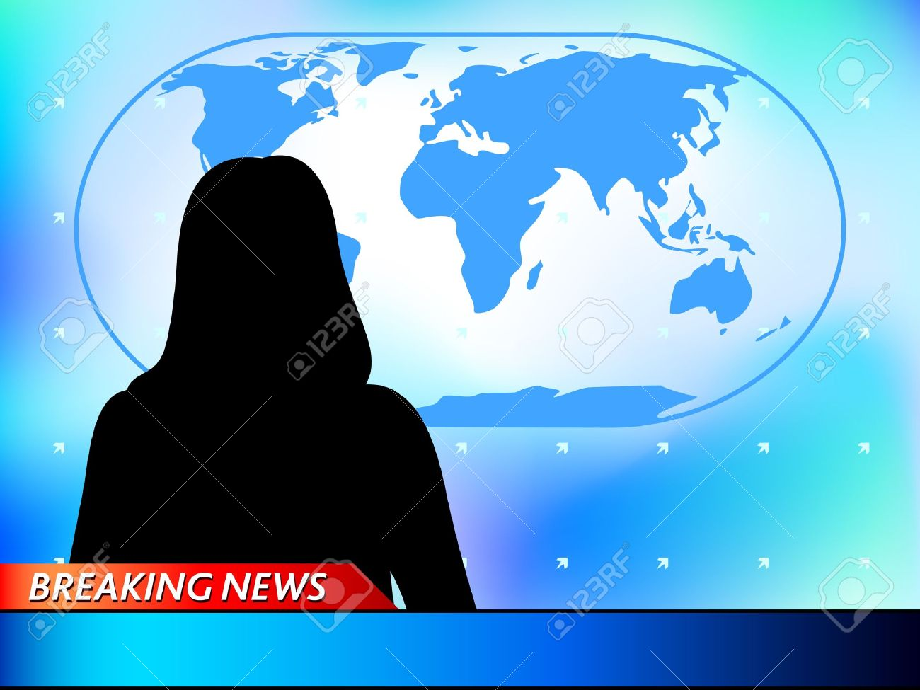 Breaking News Tv Background With Woman Reporter Stock Vector