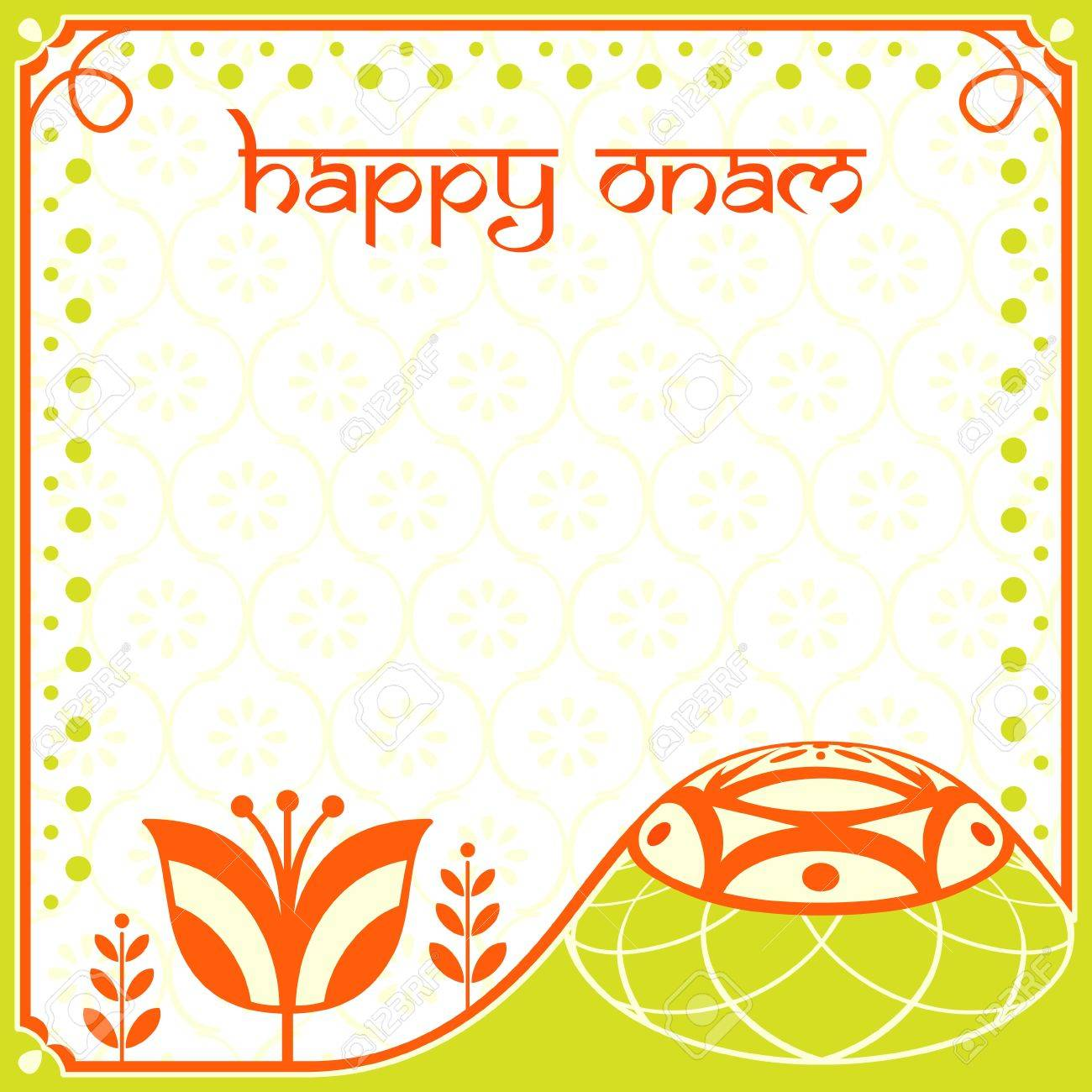 Indian Festival Decoration Decorated Greeting Card For Indian Onam Holiday Royalty Free